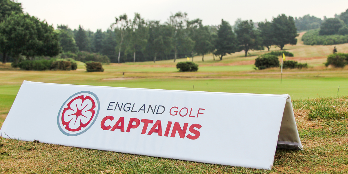 England Golf Captains sign on the edge of the green