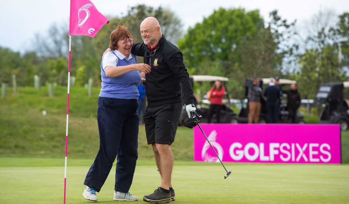 Competing: It's golf, golf, golf for Sian!