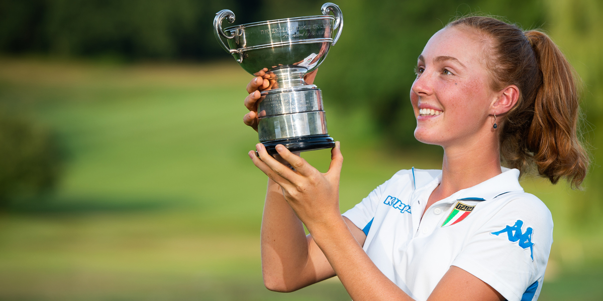 Italy's Charlotte Cattaneo wins the English Girls' U16/U14 Open Amateur Stroke Play Championship
