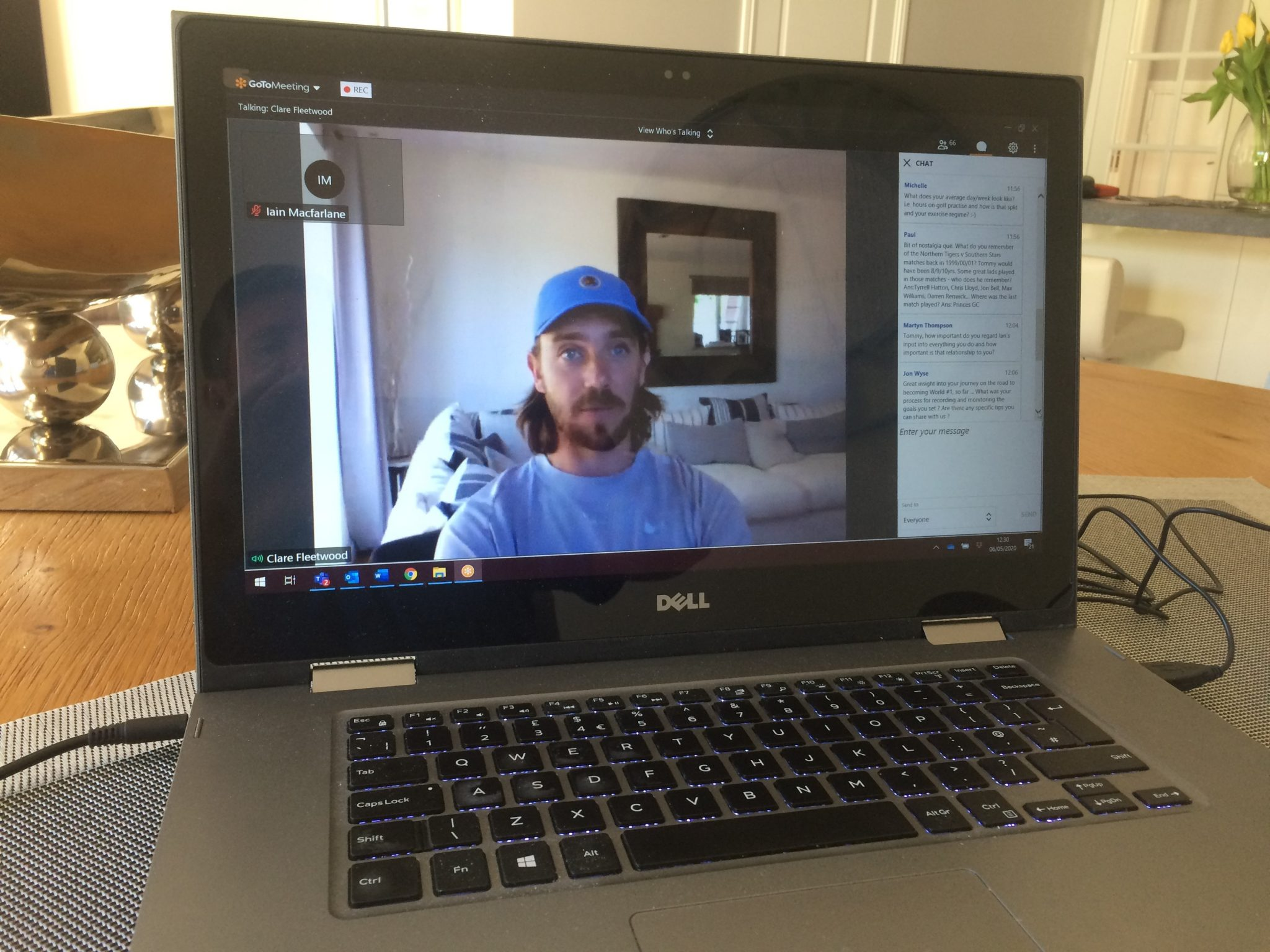 Tommy Fleetwood talking to members of the England Golf national squads in an online Q&A